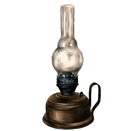 old rustic kerosene lamp sketch vector clip art graphics color picture Banque d'images