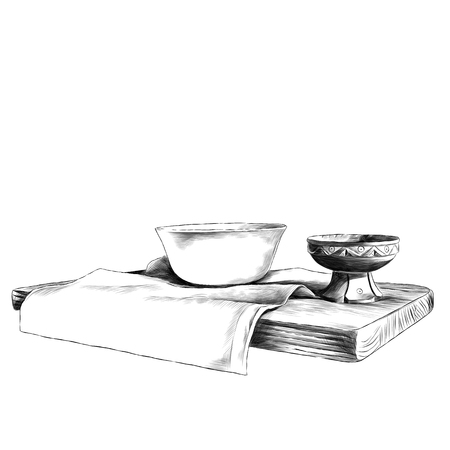 plate and wooden saucer on wooden shelf sketch vector clip art monochrome drawing Banco de Imagens