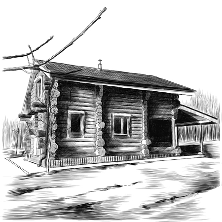rustic country house made of logs sketch vector clip art graphics monochrome drawing Banco de Imagens