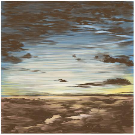 Himmel bei Sonnenuntergang, farbige Zeichnung der vektorskizzengraphiken Standard-Bild - 99683725