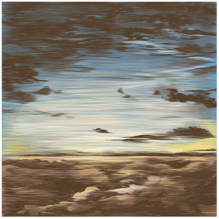 sky at sunset, vector sketch graphics colored drawing