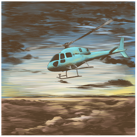 helicopter in the sky at sunset sketch vector graphic colored drawing