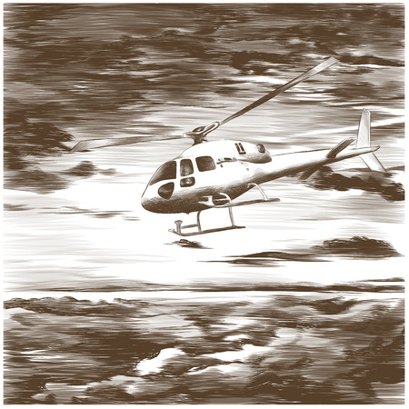 helicopter in the sky with clouds sketch vector graphic monochrome drawing Archivio Fotografico - 99950415