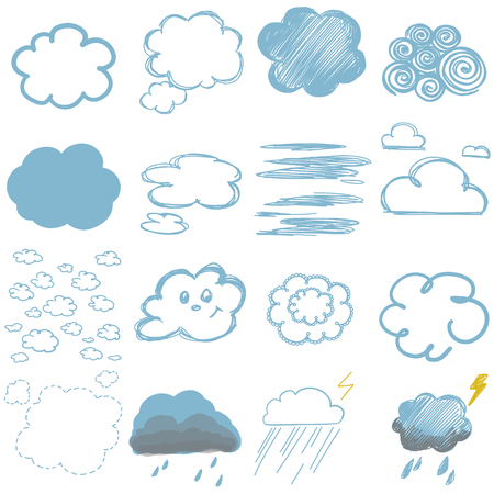 childrens drawings of clouds, colour vector quick drawing