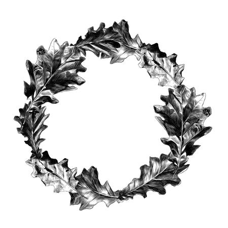 round frame of oak leaves, vector sketch graphics monochrome pattern Фото со стока