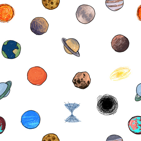 seamless texture with the image of the planets, childrens colored drawing Banco de Imagens