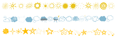 set of childrens colored drawings of stars, clouds and sun different elements Archivio Fotografico - 99950452