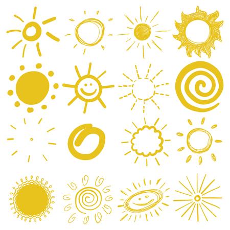 太陽ベクトルイラストの子供の色の図面のセット