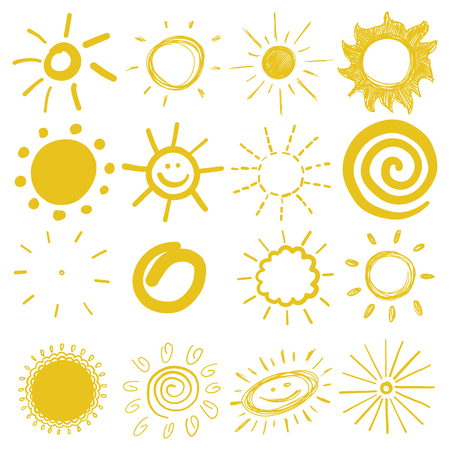 set of childrens coloured drawings of the sun vector illustration