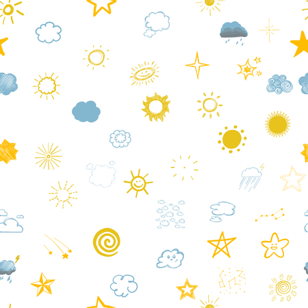 seamless texture depicting childrens drawings of clouds of stars and the sun colored illustrations