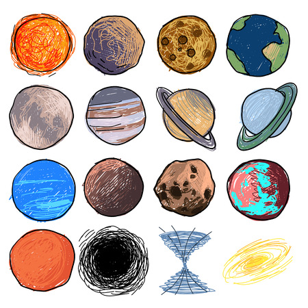 colored childrens drawing of planets, a set of sixteen different planets