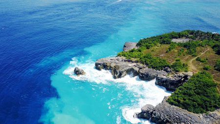 Beautiful lagoon on the island of Penida in Indonesia, the rocks and the ocean