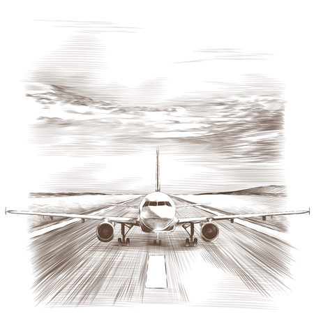 The plane stands on the runway, sketch vector graphics monochrome drawing