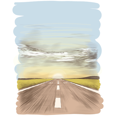 Una postal con la imagen de la pista de aterrizaje, imagen de color de gráficos vectoriales de boceto Ilustración de vector