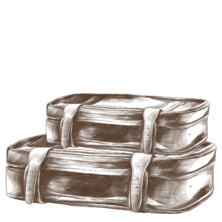 two retro suitcases lie stack on top of each other sketch vector graphic monochrome drawing 向量圖像