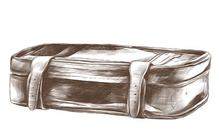 A retro suitcase lies sketch vector graphic monochrome pattern