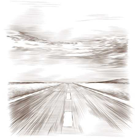 A postcard with the image of the runway, sketch vector graphics monochrome drawing