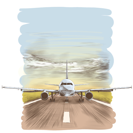 THe plane stands on the runway, sketch vector graphics colored drawing