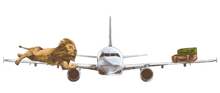 A tiger lying on the wing of a flying airplane and retro suitcases on the other wing.