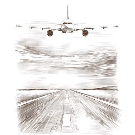 Airplane flying in the sky near the runway, sketch vector graphics monochrome drawing