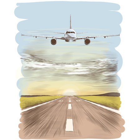 The plane flies in the sky next to the runway landing strip, sketch vector graphics color picture