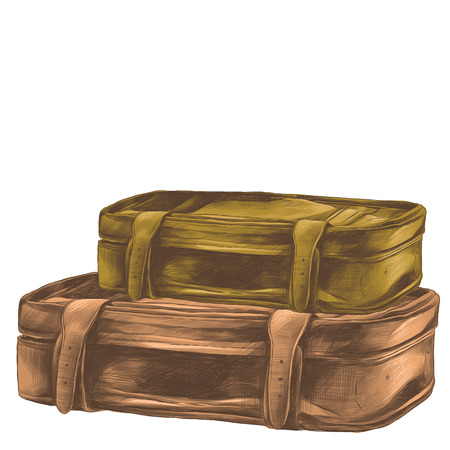 Two retro suitcases lie stack on top of each other sketch vector graphic colored drawing