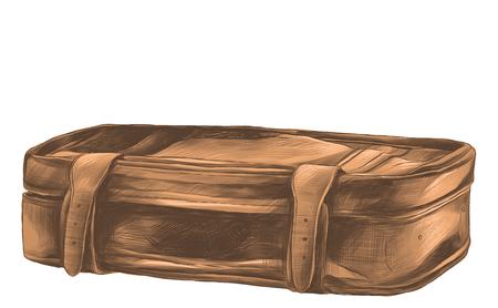 A retro suitcase is the sketch vector graphics color picture Illusztráció