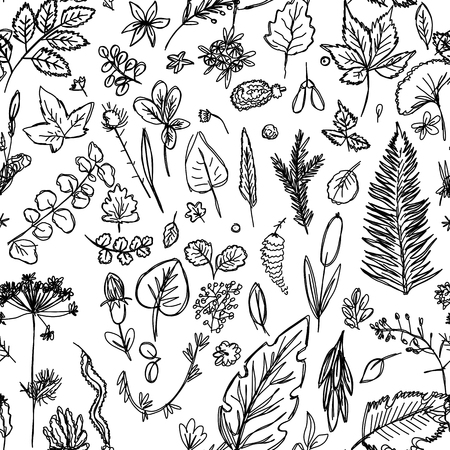 seamless texture depicting childrens drawings of leaves and branches drawn quickly by hand, sketch vector graphics monochrome drawing