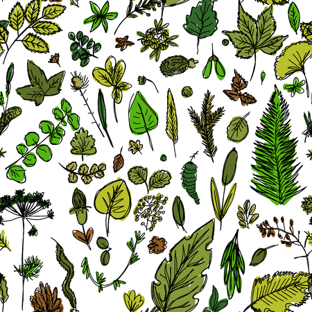 seamless texture with the image of childrens drawings of green leaves and branches drawn quickly by hand, sketch vector graphics color picture