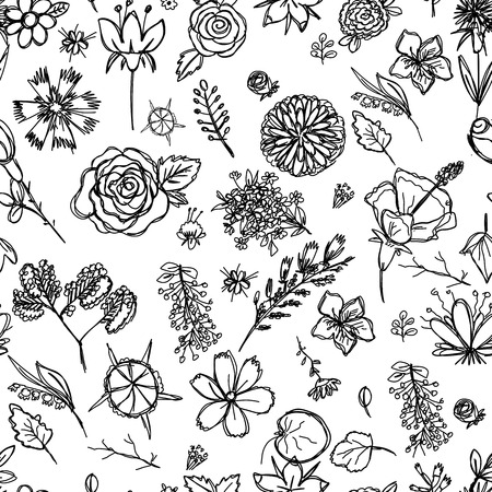 seamless texture depicting childrens drawings of flowers drawn quickly by hand, sketch vector graphics monochrome drawing 스톡 콘텐츠