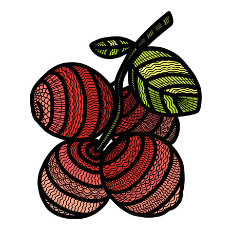 berry cranberry painted in the style of doodling with small patterns, and contour vector drawing colorized in color