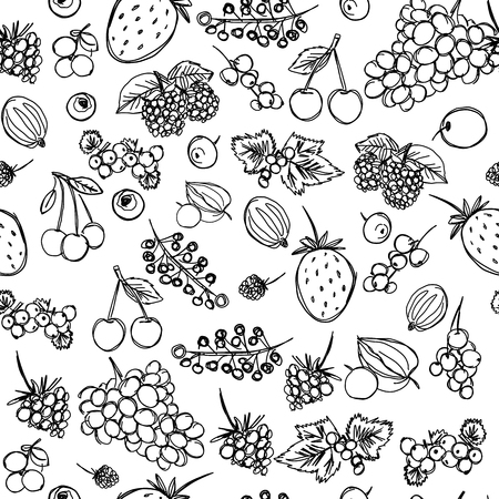 seamless texture depicting childrens drawings of berries painted quickly by hand, sketch vector graphics monochrome drawing