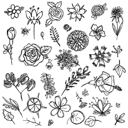set of different colors drawn in the style of childrens drawing fast by hand, sketch vector graphics monochrome drawing Illustration