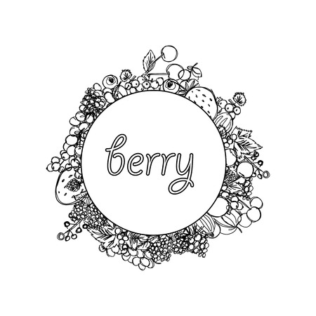 round ornamental frame with inscription in the center and with berries on the edges drawn in the style of children's drawing hand in hand, sketch vector graphics monochrome drawing