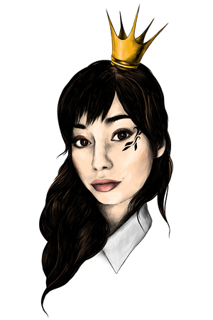 portrait of girl with loose hair in crown like a Princess and drawing on cheekbones selfie closeup sketch vector graphics colored drawing 写真素材