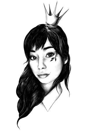 portrait of girl with loose hair in crown like a Princess and drawing on cheekbones selfie closeup sketch vector graphics 版權商用圖片 - 101351078