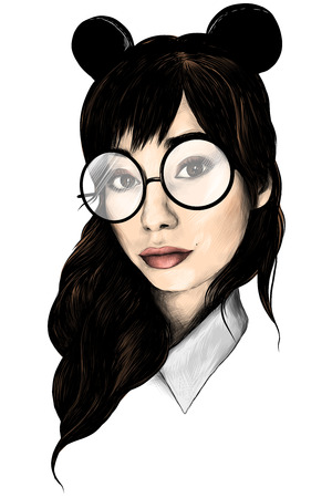 portrait of girl with loose hair in round big glasses and ears selfie closeup sketch vector graphics colored drawing Stock Photo