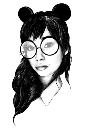portrait of girl with loose hair in round big glasses and ears selfie closeup sketch vector graphics