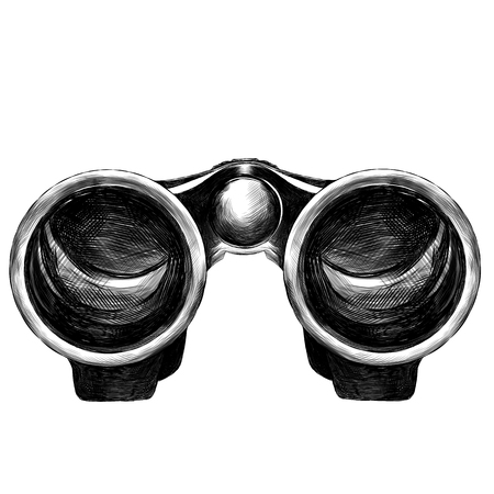 binoculars marching symmetric sketch vector graphics monochrome drawing