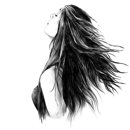 portrait of a girl in profile with her hair down, sketch vector graphics monochrome drawing