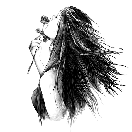 portrait of a girl in profile with her hair down and with a rose in her hand inhaling the smell of a flower, sketch vector graphics monochrome drawing Stock Photo