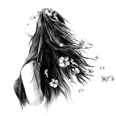 portrait of a girl in profile with loose hair and with Apple flowers in her hair, sketch vector graphics monochrome drawing Foto de archivo - 102019322