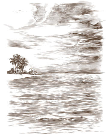 tropical landscape depicting calm sea sky with clouds and a small island with palm trees in the distance, sketch vector monochrome illustration in graphic style