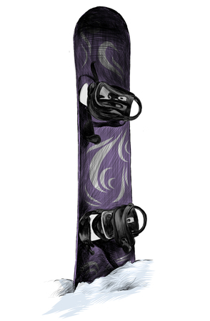 purple snowboard with white pattern stuck in a snowdrift and sticking out of snow, sketch vector illustration in graphic style