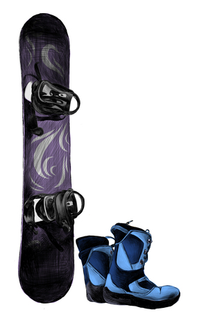 purple snowboard with blue boots, sketch vector illustration in graphic style