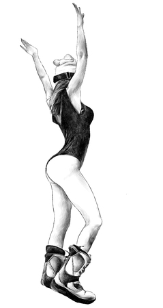 girl with her hands up in a hat and in ski boots, stands back in a sexy swimsuit, sketch vector monochrome illustration in graphic style Stock Photo