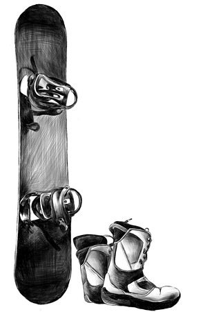 snowboard with boots, sketch vector monochrome illustration in graphic style Banque d'images - 102202692
