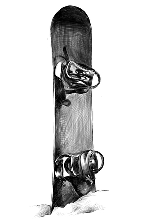 snowboard stuck in the snow and sticking out of the snow, the monochrome sketch vector illustration in graphic style Banco de Imagens