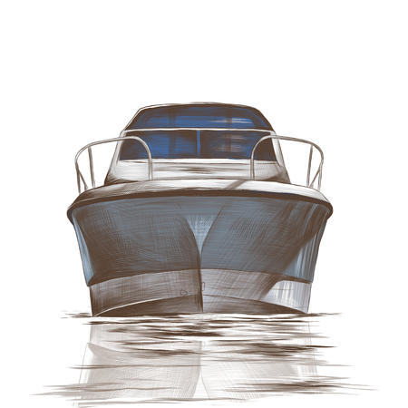 blue boat floats with the nose forward of the reflection in the waves, sketch color vector illustration in graphic style