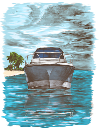 picture postcard depicting a yacht floating nose forward on the water against the sky with clouds and an island with palm trees in the distance, sketch vector color illustration in graphic style